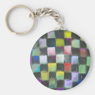 Pastel Black Checkered Pattern Basic Round Button Key Ring