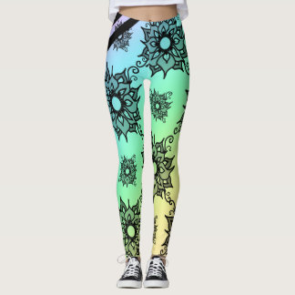 Pastel Black Floral Pattern Leggings