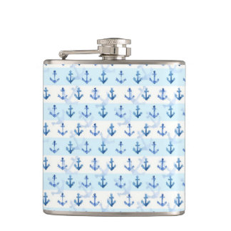 Pastel Blue Anchor Pattern Flasks
