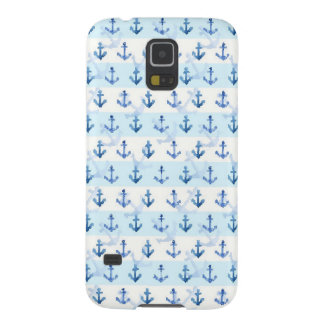 Pastel Blue Anchor Pattern Galaxy S5 Cover