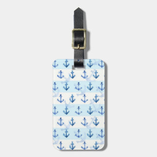 Pastel Blue Anchor Pattern Luggage Tag