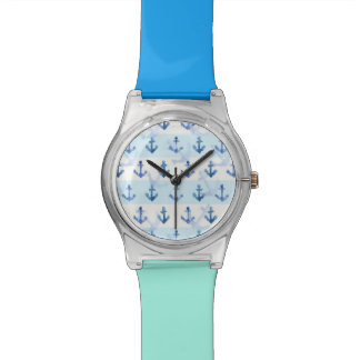 Pastel Blue Anchor Pattern Watch
