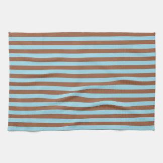 Pastel Blue and Brown Stripes Tea Towel