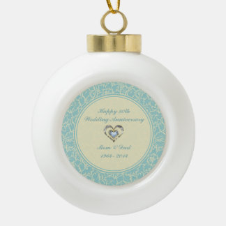 Pastel Blue And Creme Floral Damasks Ceramic Ball Christmas Ornament