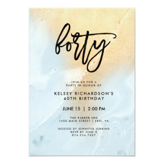 Pastel Blue and Gold Marble | 40th Birthday Party Card