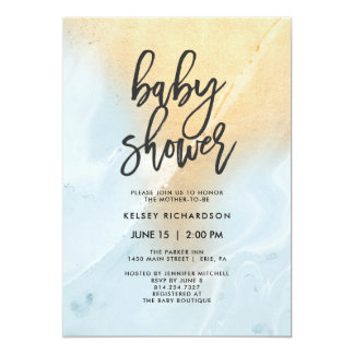 Pastel Blue and Gold Marble | Baby Shower Card