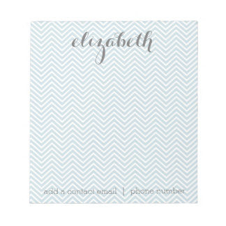 Pastel Blue and Gray Chevrons Custom Name Notepad