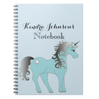 Pastel Blue and Gray Unicorn | Personalized Notebook