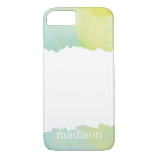 Pastel Blue and Green Watercolor Monogrammed iPhone 7 Case