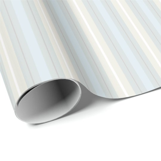 Pastel Blue and Grey Stripes Wrapping Paper