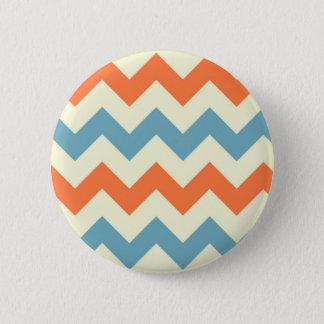 Pastel Blue and Orange Chevron Stripes 6 Cm Round Badge