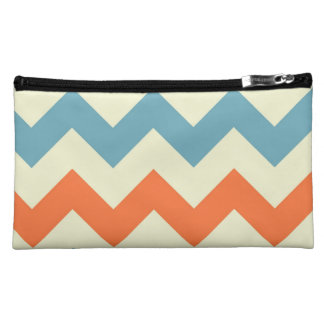 Pastel Blue and Orange Chevron Stripes Zig Zags Cosmetics Bags