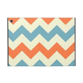 Pastel Blue and Orange Chevron Stripes Zig Zags iPad Mini Case