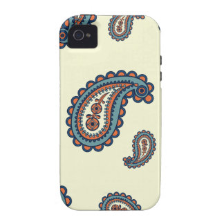 Pastel Blue and Orange Paisley Pattern iPhone 4/4S Covers