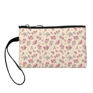 Pastel Blue and Pink Vintage Floral Coin Purse