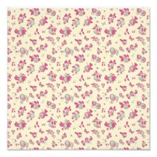 Pastel Blue and Pink Vintage Floral Photograph