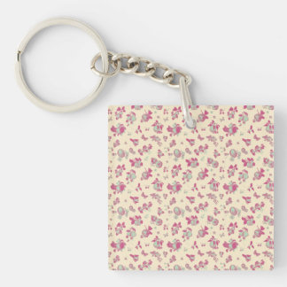 Pastel Blue and Pink Vintage Floral Single-Sided Square Acrylic Key Ring