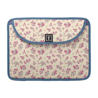 Pastel Blue and Pink Vintage Floral Sleeve For MacBook Pro