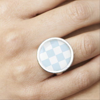 Pastel Blue and White Checkerboard Ring
