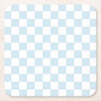 Pastel Blue and White Checkerboard Square Paper Coaster