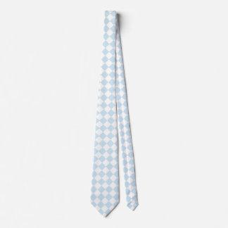 Pastel Blue and White Diamond Checkered Pattern Tie