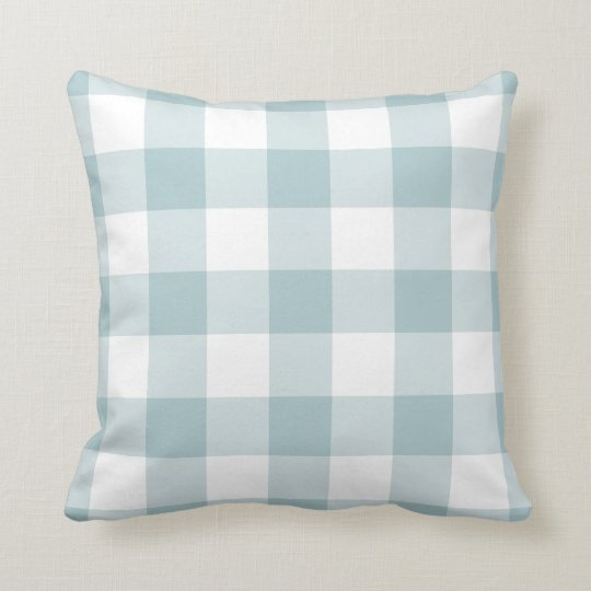 Pastel Blue and White Gingham Pattern Cushion