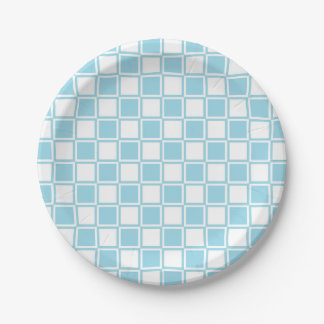 Pastel Blue and White Outlined Squares Paper Plate
