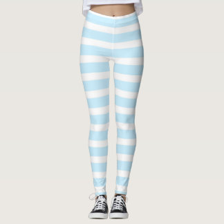 Pastel Blue and White Stripes Leggings