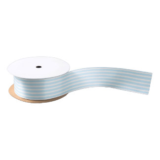 Pastel Blue and White Stripes Ribbon Satin Ribbon