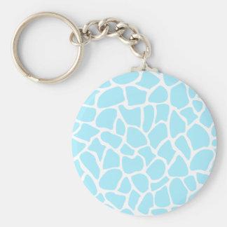 Pastel Blue Animal Print Giraffe Pattern Key Chain