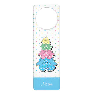 Pastel Blue Baby Elephant Birth Door Hanger