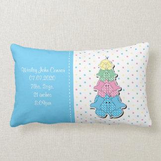 Pastel Blue Baby Elephant Birth Lumbar Pillow