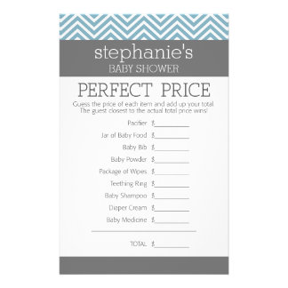 Pastel Blue Baby Shower Game - Perfect Price 14 Cm X 21.5 Cm Flyer