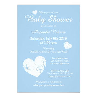 Pastel blue baby shower invitations for little boy