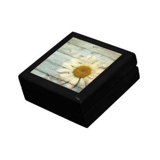 pastel blue barnwood country daisy wedding small square gift box