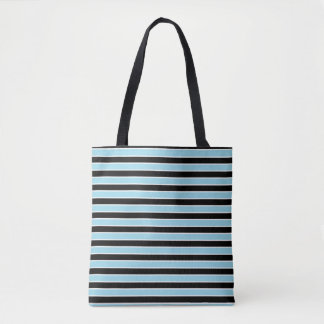 Pastel Blue, Black and White Stripes Tote Bag