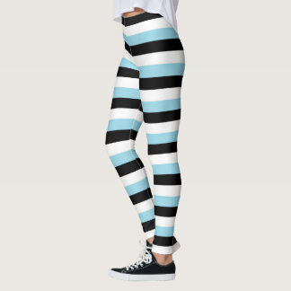 Pastel Blue, Black, White Stripes Leggings