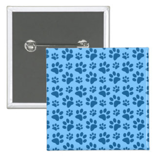 Pastel blue dog paw print pattern 15 cm square badge