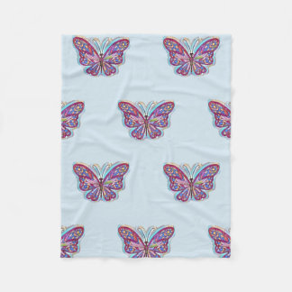 Pastel blue fleece with pink butterfly