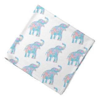 pastel blue floral baby elephants bandana