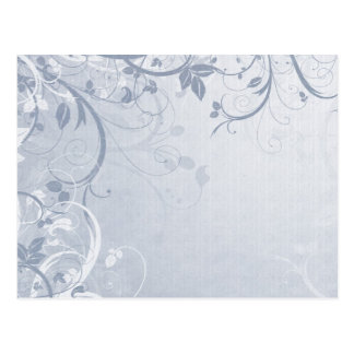 Pastel Blue Floral Grunge Postcard