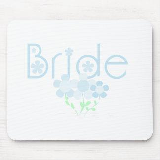 Pastel Blue Flowers Bride Mouse Pad
