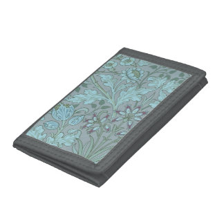 Pastel Blue Flowers Tri-fold Wallets