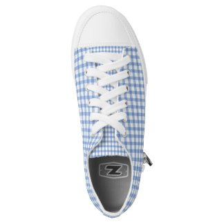 Pastel Blue Gingham Check Pattern Printed Shoes