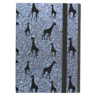 Pastel blue giraffe glitter pattern iPad air covers