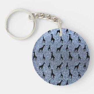 Pastel blue giraffe glitter pattern keychain