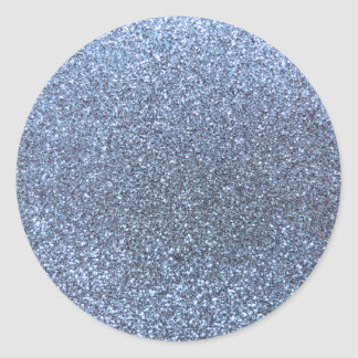 Pastel blue glitter classic round sticker