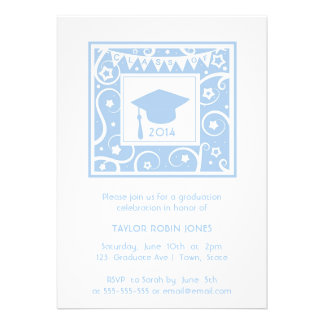 Pastel Blue Grad Hat Classy Graduation invitation
