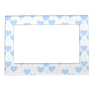 Pastel Blue Heart Balloon Pattern. Magnetic Picture Frame
