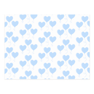 Pastel Blue Heart Balloon Pattern. Postcard